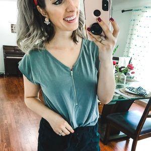 Green Envelope Grey Zip Short Sleeve Blouse S
